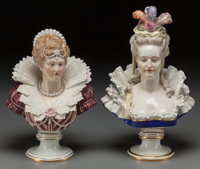 A Pair of Meissen Painted Porcelain Busts: Marie Antoinette and Elizabeth I, circa 1900 Mark