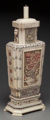 A Chinese Carved Bone And Resin Lamp Base 20th Century 27 1 2 Lot 63469 Heritage Auctions