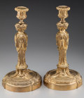 Decorative Arts, French:Lamps & Lighting, A Pair of Napoleon III-Style Gilt Metal Figural Candlesticks, early20th century. 11-1/2 inches high (29.2 cm). ... (Total: 2 Items)