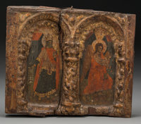 A Russian Painted and Giltwood Double Icon, 17th century in part 14 inches high x 16-1/2 inches wide (35.6 x 41.9