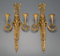 Decorative Arts, French:Lamps & Lighting, A Pair of Louis XVI-Style Gilt Bronze Two-Light Wall Sconces, late19th century. Marks: E. MOTTHEAU, PARIS. 20-1/2 inche...(Total: 2 Items)