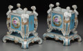 Ceramics & Porcelain, Continental:Modern  (1900 1949)  , A Pair of Dresden-Style Painted and Partial Gilt Porcelain Jardinières, 20th century. Marks: (pseudo marks). 12-5/8 h x 12 w... (Total: 2 Items)
