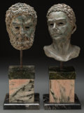 Sculpture, A Pair of Patinated Bronze Classical Busts on Marble Bases, After the Antique, 20th century. 22-1/2 inches high (57.2 cm) (t... (Total: 4 Items)