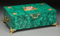 Decorative Arts, Continental:Other , A Russian Malachite, Gilt Bronze, and Porcelain Table Box, 21st century. 5-7/8 inches high x 17 inches wide x 11-1/2 inches ...