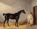 19th Century European:Sporting, William Barraud (British, 1810-1850). A dark bay hunter with agroom in a stable. Oil on canvas. 24-1/4 x 30-1/4 inches ...