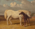 19th Century European:Sporting, John Frederick Herring (British, 1795-1865). Mare and foal,1854. Oil on panel. 10 x 12 inches (25.4 x 30.5 cm). Signed ...