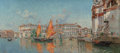 Fine Art - Painting, European:Other , Antonio María de Reyna Manescau (Spanish, 1859-1937). The GrandCanal, from Santa Maria della Salute, Venice. Oil on can...