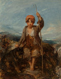 Paintings, William Underhill (British, 1808-1908). The young shepherd boy, 1850. Oil on canvas. 24 x 20-1/4 inches (61.0 x 51.4 cm)...