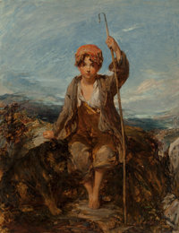 William Underhill (British, 1808-1908) The young shepherd boy, 1850 Oil on canvas 24 x 20-1/4 inc
