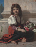 Fine Art - Painting, European:Other , François Alfred Delobbe (French, 1835-1915). The little flowergirl. Oil on canvas. 22 x 18 inches (55.9 x 45.7 cm). Sig...