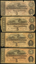 Confederate Notes:1864 Issues, T69 $5 1864, Four Examples.. ... (Total: 4 notes)
