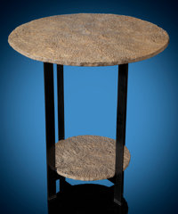 "Two-Tiered Petrified ""Beach Sand"" End Table Hartshorne Sandstone Pennsylvanian Age"