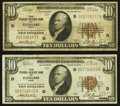 Fr. 1860-D $10 1929 Federal Reserve Bank Notes. Two Examples. Fine or Better