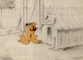 Animation Art:Production Cel, Pluto Production Cel and Background Layout Drawing (Walt Disney, 1930s-40s)....