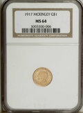 Commemorative Gold: , 1917 G$1 McKinley MS64 NGC. A lustrous and well struck yellow-goldexample that has traces of orange on each side. A few li...
