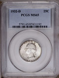 Washington Quarters: , 1932-D 25C MS65 PCGS. PCGS Population (63/1). NGC Census: (15/0).Mintage: 436,800. Numismedia Wsl. Price: $20,500. (#5791)...