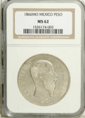 Mexico: , Mexico: Maximilian Peso 1866-Mo, KM-387, MS62 NGC, some softness ofstrike, silvery white surfaces with only tiny abrasions, a few s...