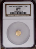 California Fractional Gold: , 1859 25C Liberty Round 25 Cents, BG-801, R.3, MS66 NGC. (#10662)...