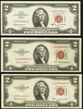 Small Size:Legal Tender Notes, Fr. 1510* $2 1953A Legal Tender Star Note. Choice About Uncirculated; Fr. 1512* $2 1953C Legal Tender Star Note. Very Fine-Ext... (Total: 3 notes)