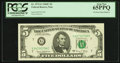 Error Notes:Foldovers, Fr. 1972-G $5 1969C Federal Reserve Note. PCGS Gem New 65PPQ.. ...