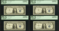 Small Size:Silver Certificates, Fr. 1619* $1 1957 Silver Certificate Stars. Four Consecutive Examples. PCGS Very Choice New 64PPQ.. ... (Total: 4 notes)