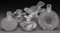 Art Glass:Lalique, A Group of Five Lalique Clear and Frosted Glass Smalls, post 1945.Marks to all: Lalique, France. 5-1/4 inches high (13....(Total: 5 Items)