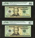 Small Size:Federal Reserve Notes, Near Solid Serial Number JC34444444D Fr. 2095-C $20 2009 Federal Reserve Note. PMG Gem Uncirculated 66 EPQ; Near Solid Serial ... (Total: 2 notes)