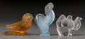 Art Glass:Lalique, Three Lalique Animals: Camel, Rooster, Mallard, post-1945.Marks: Lalique France. 5 inches high (12.7 cm) (talle...(Total: 3 Items)