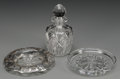 Decorative Arts, Continental:Other , Three Glass Tables Articles, 20th century. Marks to coaster:BACCARAT, (logotype), FRANCE. Marks to bottle:HAWKES... (Total: 3 Items)