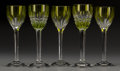 Art Glass:Other , Five Baccarat Clear and Yellow Glass Cordial Glasses, Baccarat,France, 20th century. Marks: BACCARAT, (logotype), FRA...(Total: 5 Items)