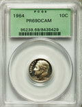 Proof Roosevelt Dimes: , 1964 10C PR69 Deep Cameo PCGS. PCGS Population (304/2). NGC Census:(191/0). Numismedia Wsl. Price for problem free NGC/PC...
