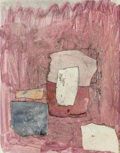 Fine Art - Work on Paper:Watercolor, Attributed to John Edward Heliker (American, 1909-2000).Composition, 1957. Watercolor and collage on paper. 14 x 11inc...