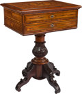 Furniture , A Fine Austrian Mahogany, Fruitwood, and Ebony Inlaid Sewing Table, late 19th century. 30-1/8 h x 22-3/4 w x 17-5/8 inches d...