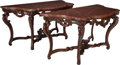 Furniture : French, A Pair of Louis XV-Style Carved Hardwood Consoles with Rouge MarbleTops, 19th century in part. 36 h x 69 w x 29 d inches (9... (Total:4 Items)