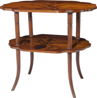 A School of Nancy Marquetry Two-Tier Side Table, circa 1910 31 h x 34-1/2 w x 24-1/2 d inches (78.7 x 87.6 x 62.2