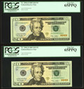 """Small Size:Federal Reserve Notes, """"228-528"""" Low Three-Digit JD-C Fr. 2096-D $20 2009 Federal Reserve Notes PCGS Graded.. ... (Total: 4 notes)"""