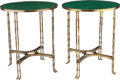 Furniture : Continental, A Pair of Neoclassical-Style Brass and Malachite Tables, 21stcentury. 28-1/2 high x 23-1/2 inches diameter (72.4 x 59.7 cm)...(Total: 2 Items)