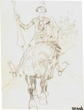 Original Comic Art:Sketches, Wally Wood - Knight on Horseback Sketch Original Art (c. 1960s)....