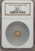 California Fractional Gold , 1873 50C Liberty Octagonal 50 Cents, BG-915, Low R.4, MS61 NGC. NGCCensus: (2/26). PCGS Population (8/113). ...