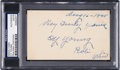 Baseball Collectibles:Others, 1945 Cy Young Signed Index Card....
