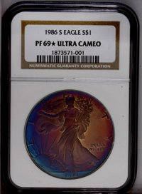 1986-S $1 Silver Eagle PR69 ★ Ultra Cameo NGC. NGC Census: (8345/449). PCGS Population (5548/27).Mintage: 1,446,778. Num...