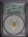 California Fractional Gold: , 1854 25C Liberty Octagonal 25 Cents, BG-105, R.3, AU58 PCGS. PCGSPopulation (11/186). (#10374)...
