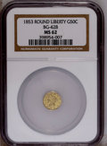 California Fractional Gold: , 1853 50C Liberty Round 50 Cents, BG-428, R.3, MS62 NGC. PCGSPopulation (70/30). (#10464)...