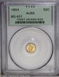 California Fractional Gold: , 1854 50C Liberty Round 50 Cents, BG-431, Low R.5, AU55 PCGS. PCGSPopulation (7/40). (#10467)...