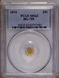 California Fractional Gold: , 1874 25C Indian Octagonal 25 Cents, BG-795, R.3, MS63 PCGS. PCGSPopulation (39/77). (#10622)...
