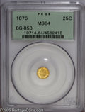 California Fractional Gold: , 1876 25C Indian Round 25 Cents, BG-853, Low R.5, MS64 PCGS. Pop: (P12/2, N 0/0). ...
