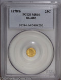California Fractional Gold: , 1878/6 25C Indian Round 25 Cents, BG-883, High R.4, MS64 PCGS. Pop:(P 24/2, N 0/0). ...