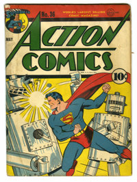 Action Comics #36 (DC, 1941) Condition: GD. Classic robot cover by Fred Ray. Bernard Baily, George Papp, Joseph Sulman...