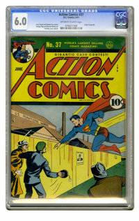 Action Comics #37 (DC, 1941) CGC FN 6.0 Off-white to white pages. Origin of Congo Bill. Fred Ray cover. Ray, George Papp...