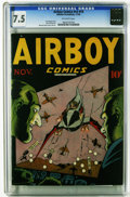 Golden Age (1938-1955):War, Airboy Comics V3#10 (Hillman Fall, 1946) CGC VF- 7.5 Off-whitepages. Bernard Sachs cover. Art by Sachs and Tony DiPreta. Th...
